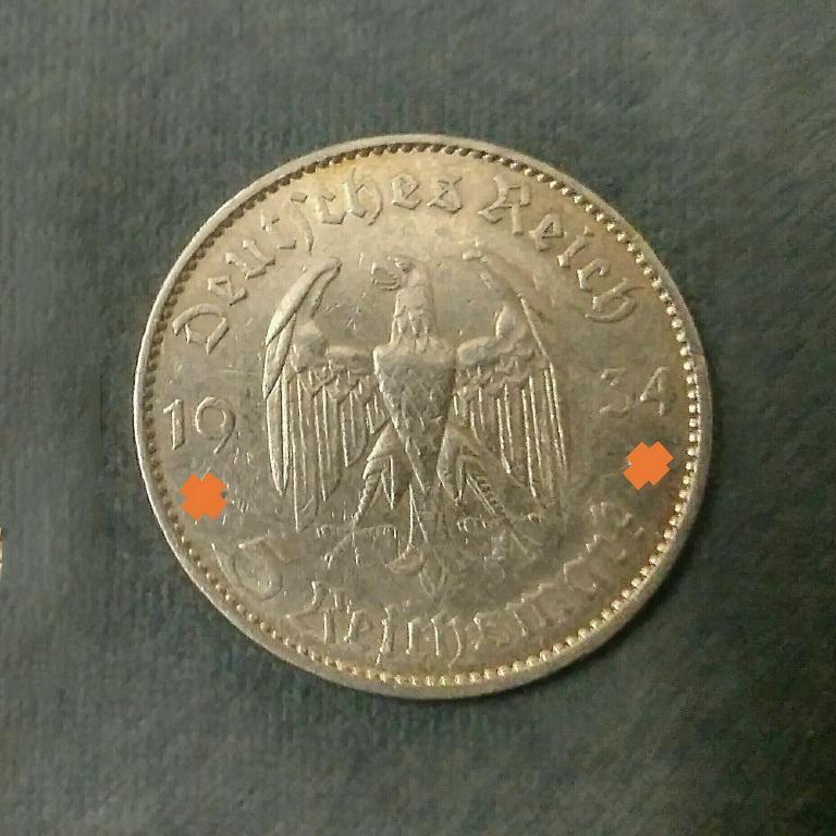 5 марок Кирха Третий Рейх. Серебро