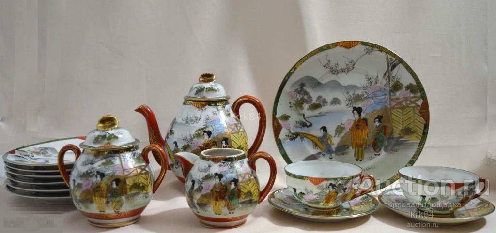 Чайный сервиз пара чайник сахарница молочник тарелки Гейша фарфор ручная роспись Япония 1930-е
