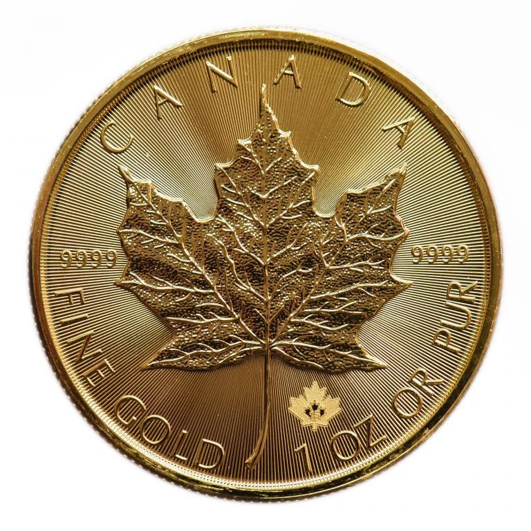 50 долларов 2015 год. Канада. Кленовый Лист. золото 999.9 пробы, вес: 31.1 грамм.