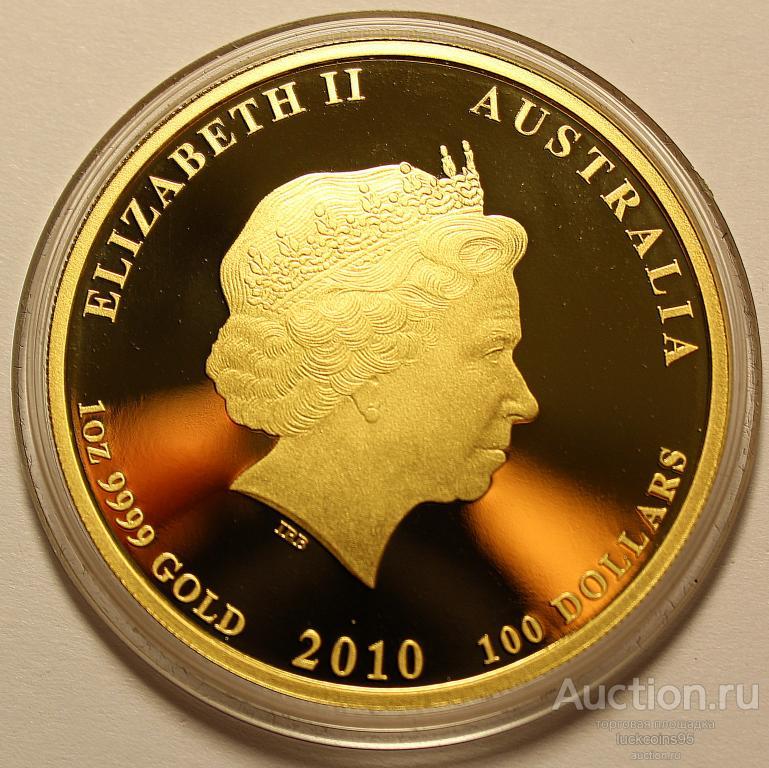 100 долларов 2010 год. Год Тигра. Австралия. Золото 9999 - 31.1 грамм (1 oz).