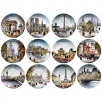 Винтаж 12 достопримечательностей Парижа полная серия коллекционных декоративных тарелок BRADEX Дали