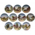 Винтаж полная серия декоративных настенных тарелок Идиллия деревенской жизни Германия Бавария Weiden