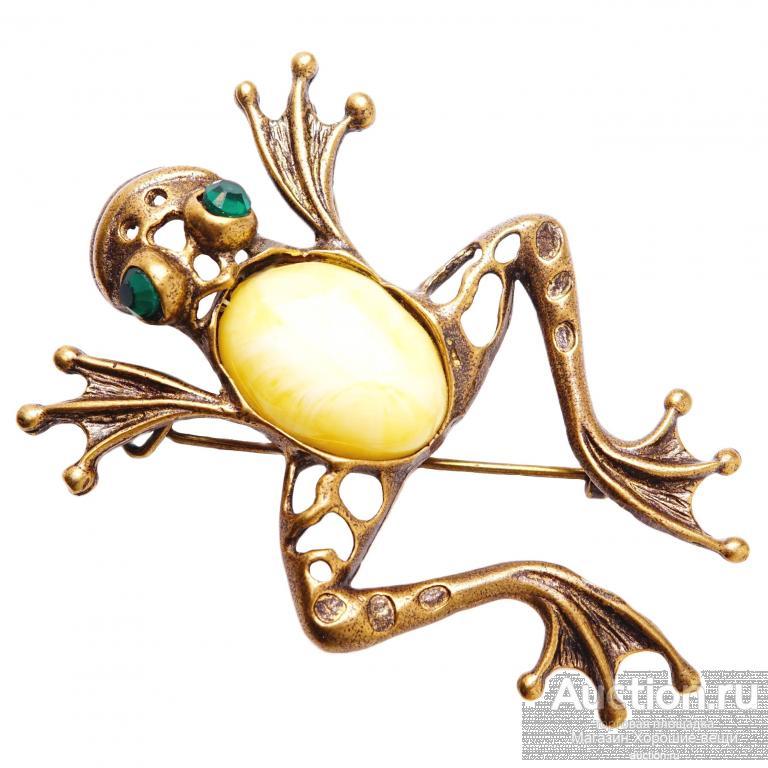 Брошь - кулон Царевна Лягушка Янтарь Бронза латунь брошка бижутерия стразы подвеска 266 Хорошие Вещи
