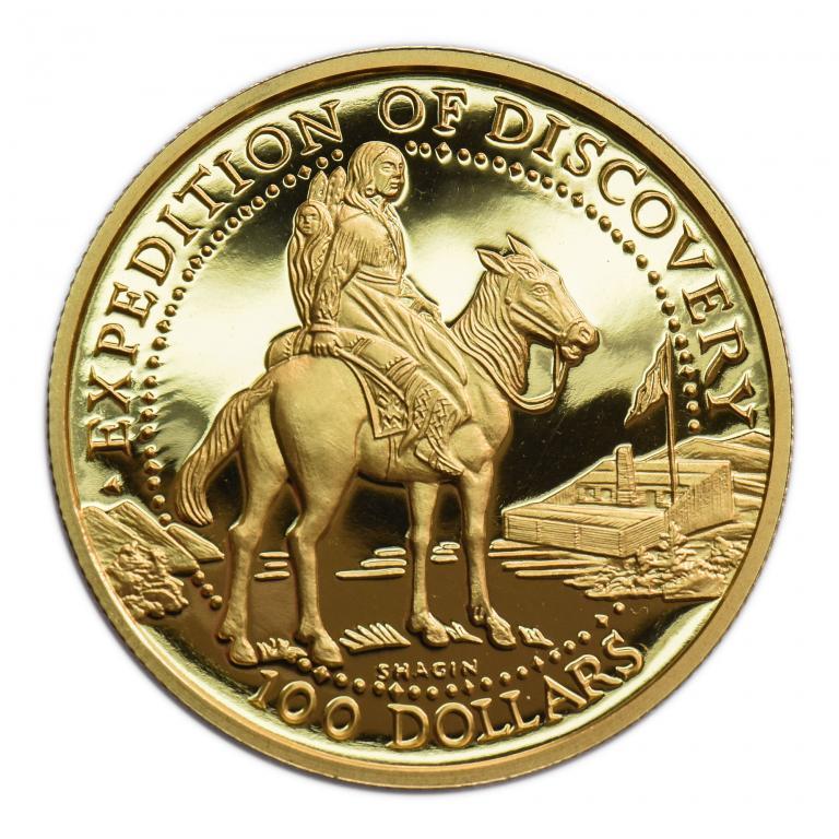 100 долларов 2005 год. США. Фантазийный выпуск. Золото 999 пр. 31 грамм.