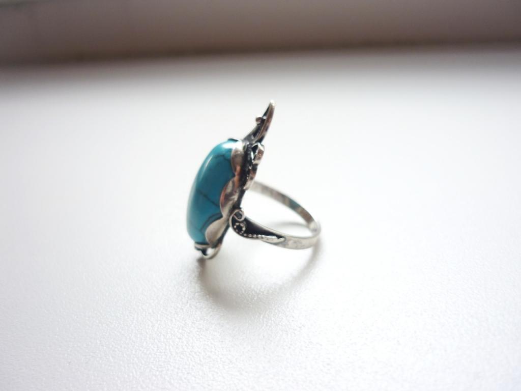 кольцо. серебро 925 пробы. бирюза прессованная. скань. размер 16
