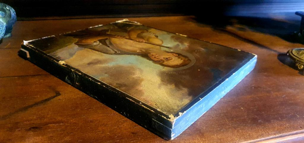 RARE !. Икона « Святой Иоанн Христа ради юродивый » XIX век / 23,3 х 28,8 см. / академическое письмо