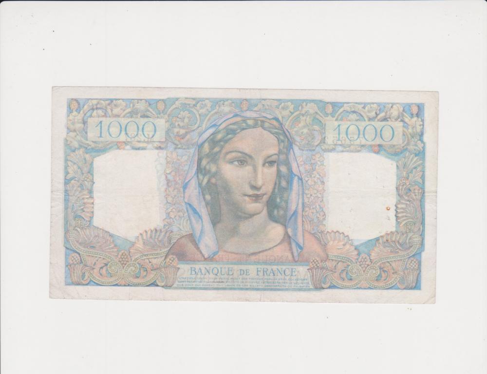 """Франция 1000 франков 1946 Состояние  ! """"Минерва и Геркулес"""""""