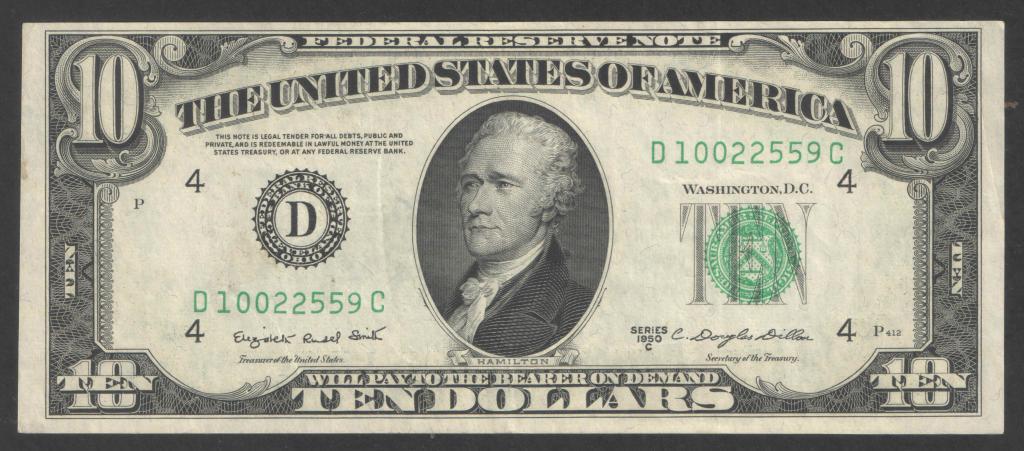 США, 10 долларов, 1950 C год, 4-й банк, блок D-C, XF-aUNC