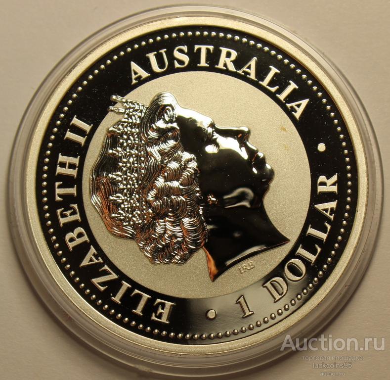 1 доллар 2007 год. Серия ЛУНАР: Год Свиньи. Австралия. В позолоте. Серебро 999 пробы. #47
