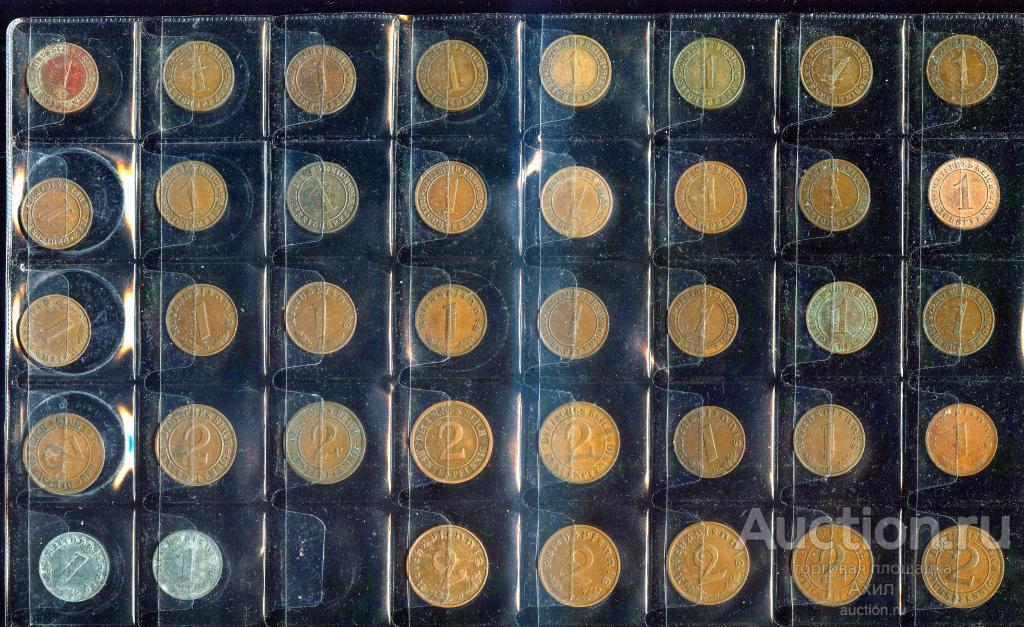 Германия, 1919-1944г, Веймар +  III-Рейх, 126 монет: Разные Оригиналы, из обращения