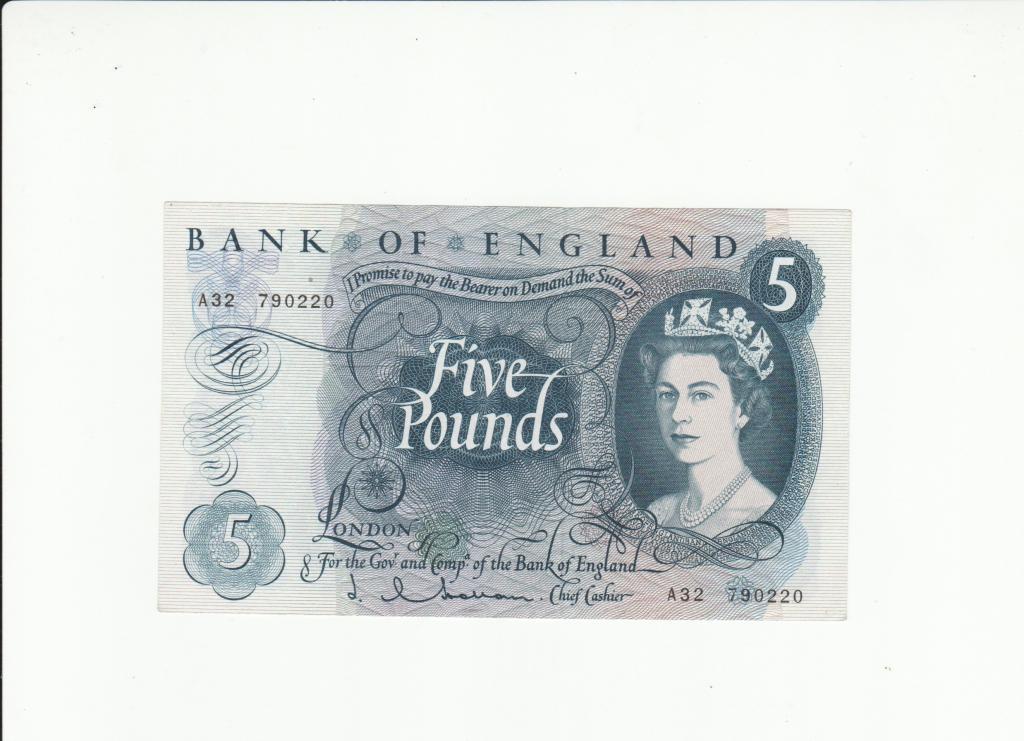 Великобритания 5  фунтов 1966  Состояние супер!