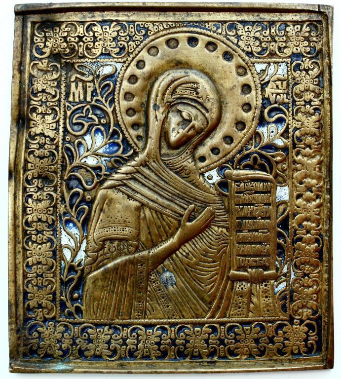 Старинная меднолитая пластика «Пресвятая Богородица». Эмали.