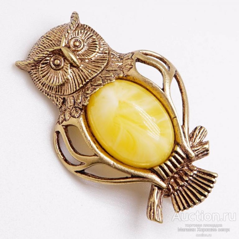 Брошь Филин Мудрый Янтарь Бронза латунь брошка птица сова ажурная бижутерия 134 Хорошие Вещи