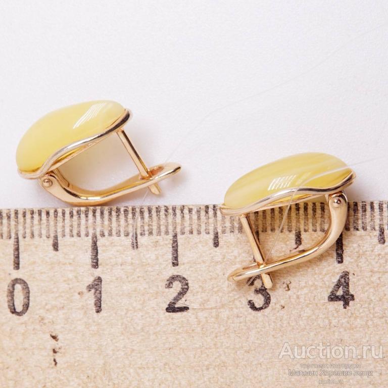 Серьги серебряные позолоченные Янтарь натуральный балтийский медовый серебро 925 пробы сережки 133