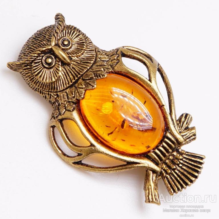 Брошь Филин Мудрый Янтарь коричневый Бронза латунь брошка птица сова ажурная 134 Хорошие Вещи