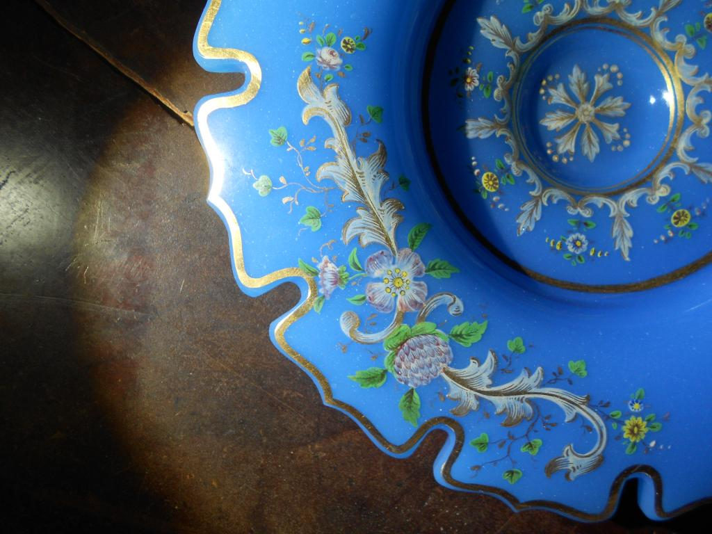 СТАРИН.ДВУХЧАСТНАЯ ВАЗА-КОМПОТЬЕР:ПОЛЕВЫЕ ЦВЕТЫ голубое глушеное стекло роспись БАХМЕТЬЕВ 1840-50-е