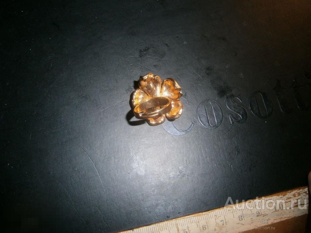Кольцо Желтый цветок, металл, эмаль, стекло, регулируется размер, красота, покрытие золотом