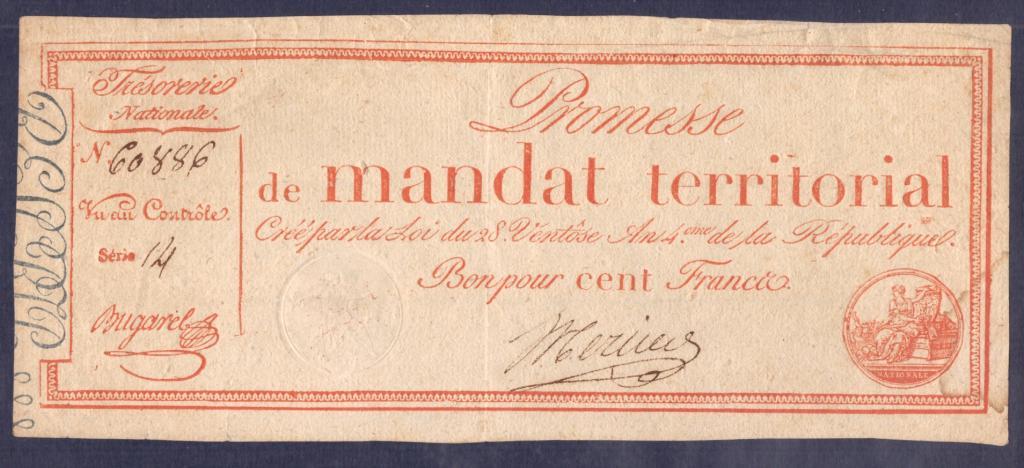 ФРАНЦИЯ. 100 франков 1796. Большой размер - 100 х 235 мм.