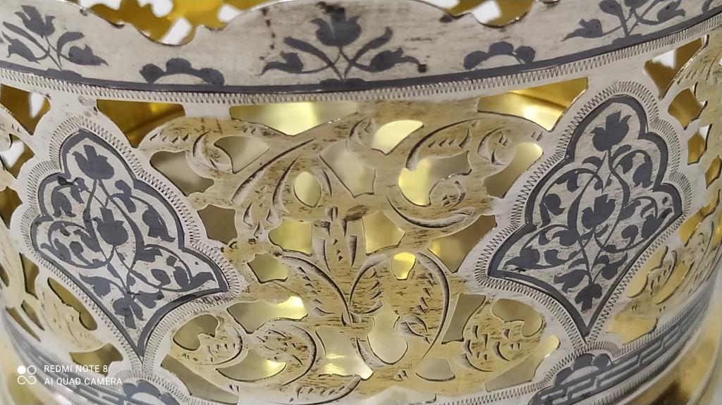 Конфетница  Чернение КУБАЧИ Серебро Позолота вес; 253 гр 875 Проба высота; 8,4*13см С Рубля