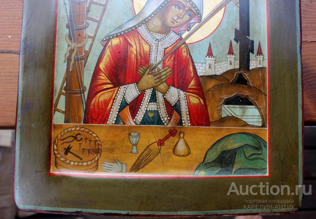 РЕДКАЯ СТАРАЯ ИКОНА БОГОРОДИЦЫ КОВЧЕГ ПЛАЧ ПРИ КРЕСТЕ 31*27см.ТЕМПЕРА,СУСАЛЬНОЕ