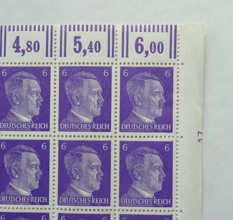 Третий Рейх MiNr.785b 1941г. Портрет Гитлера полный лист **