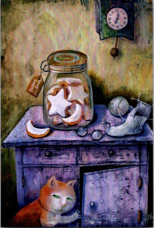 Россия 2010е Чистая Бабушкин стол Виллоне кот кошка Современные открытки #EBBK