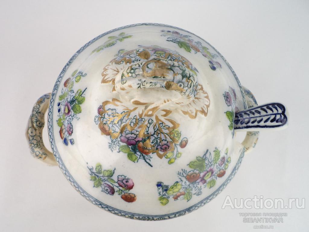 750 ак СТАРИННАЯ ВИКТОРИАНСКАЯ СОУСНИЦА С ЛОЖКОЙ ФАЯНС АНГЛИЯ 1890 годы дум кухня стол сервировка