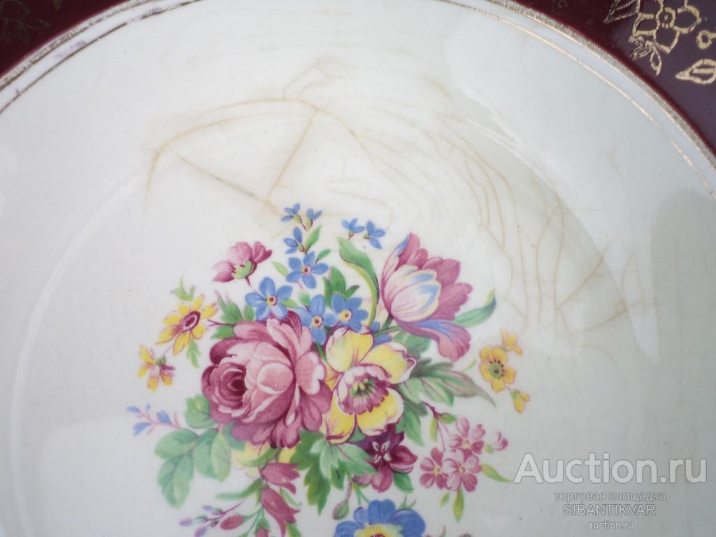 896 ак СТАРИННЫЕ СЕРВИРОВОЧНЫЕ ТАРЕЛКИ ФАЯНС ЗОЛОЧЕНИЕ АНГЛИЯ 1920 годы кухня стол коллекция витрина