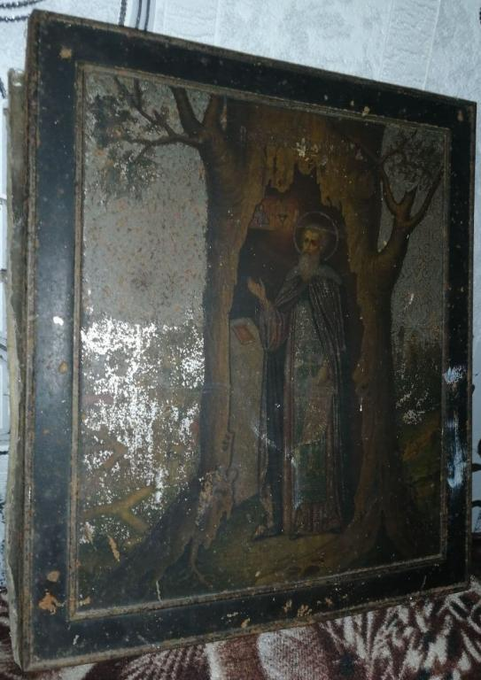 РЕДКАЯ ИМЕННАЯ СТАРИННАЯ ИКОНА!!!Пресвятой Тихон Калужский.Литография на металле.Размер:27 на 31 см.