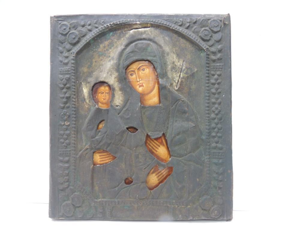 Икона Божья Матерь С Младенцем Оклад Дерево Краски Тампера Размер 30 Х 27 С Рубля