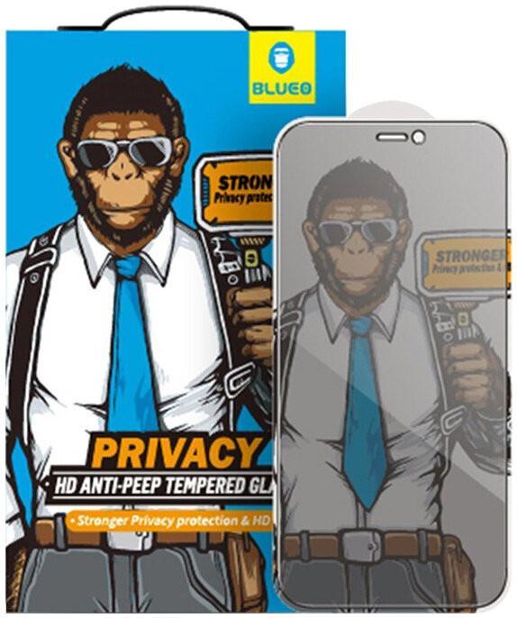 Защитное приватное стекло для iPhone 13 Pro Max BlueO 2.5D Silk full cover Anti-peep, 0.26 мм, Blac