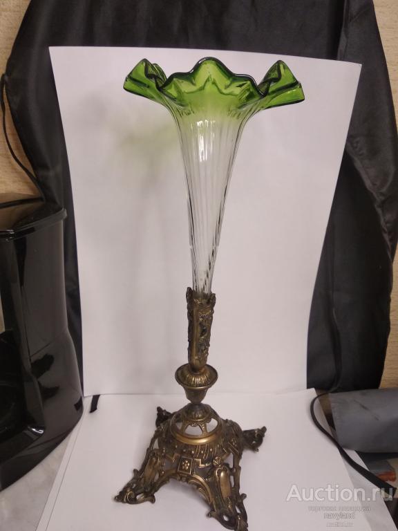 Изящная Антикварная ваза стекло и бронза конец XIX века Европа
