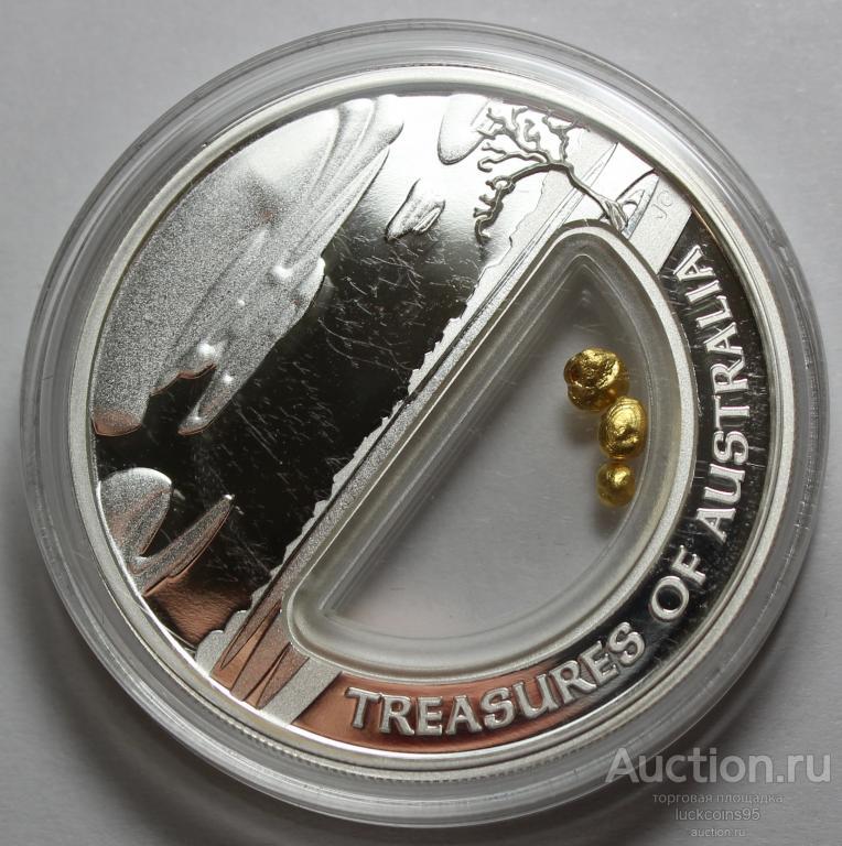 1 доллар 2010 год. Сокровища Австралии. Золотые гранулы. Серебро 999 - 31.1 гр (1 oz). Редкость!
